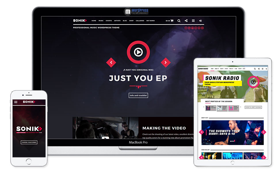 SONIK: Responsive Music Wordpress Theme for Bands, Djs, Radio Stations, Singers, Clubs and Labels.
