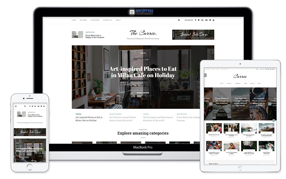 Carrie - Personal & Magazine WordPress Responsive Clean Blog Theme